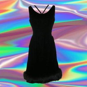 1950s vintage sexy black velvet fur dress size xs